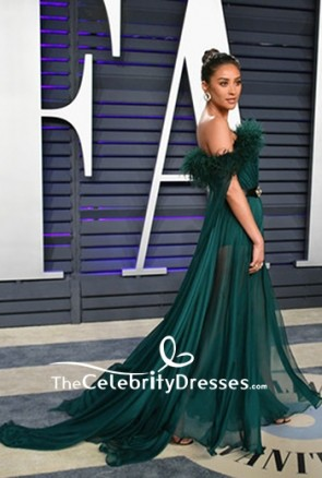 Shay Mitchell Dark Green Off-the-shoulder Thigh-high Slit Evening Dress 2019 Vanity Fair Oscar party TCD8330