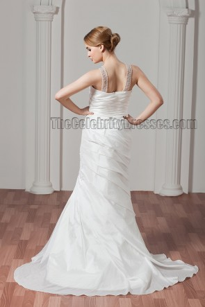Sheath/Column Beaded Sweep/Brush Train Wedding Dresses