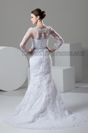Sheath/Column Lace Long Sleeve Beaded Wedding Dresses