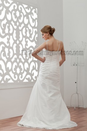 Sheath/Column Spaghetti Sweep/Brush Train Wedding Dresses