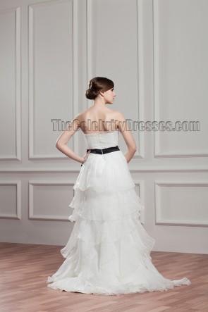 Sheath/Column Strapless Organza Wedding Dress With A Black Belt