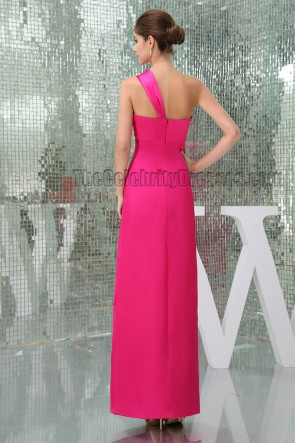 Sheath/Column Fuchsia One Shoulder Prom Gown Evening Dress