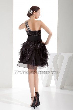 Short Black One Shoulder A-Line Organza Party Homecoming Dress