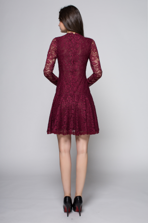 Short Mini Burgundy Long Sleeve Lace Party Homecoming Dresses