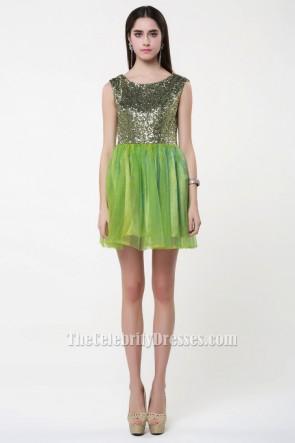 Short Mini Green Sleeveless Party Homecoming Dresses TCDBF024