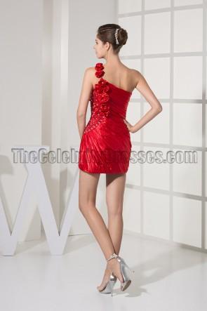 Kurzes rotes Mini-Partykleid mit einer Schulter Heimkehrkleid