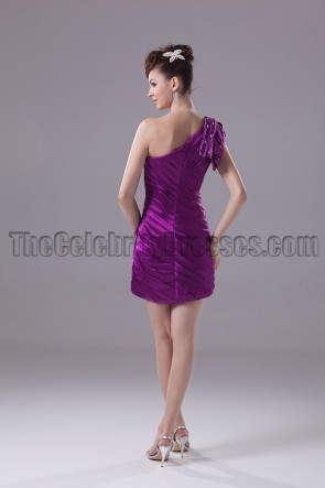 Short / Mini Purple One Shoulder Party Homecoming Dresses