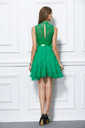 Short Mini Sleeveless Green A-Line Party Homecoming Dresses TCDBF298