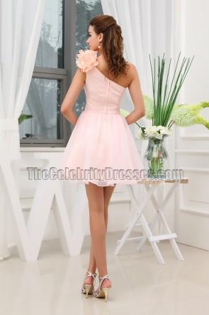 Nettes rosa einschulteriges Heimkehrkleid Partykleid