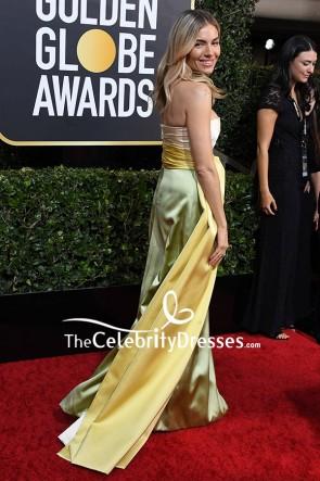 Sienna Miller gelber Ausschnitt Abendkleid 2020 Golden Globes