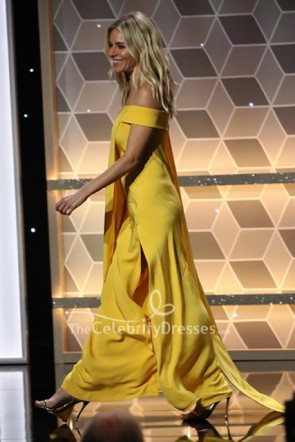Sienna Miller Yellow Off Shoulder Dress 2019 Hollywood Film Awards TCD8753