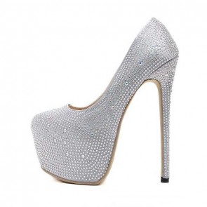 Silver Pump Round Toe Diamond Wedding Shoes Closed-toe Stiletto Heels For Prom