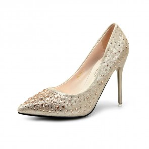 Silver Rhinestones Pointed Toe Stiletto Heels Wedding Shoes For Bride