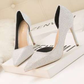 Silver Sparkly Pointed Toe Women's Stiletto Heels