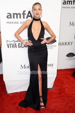 Simona Andrejic Sexy Black High Slit Evening Dress 2016 amfAR New York Gala 3