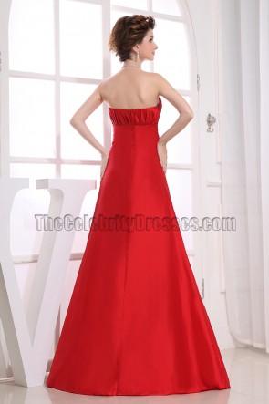 Elegant Red Strapless Formal Evening Prom Dresses