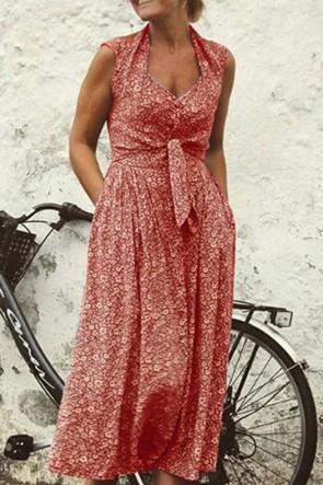 Sleeveless Ditsy Floral Halter Dress