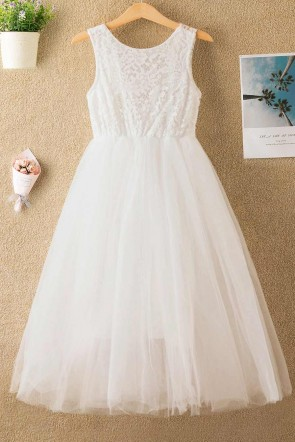 Sleeveless Lace Tulle Flower Girl Dress