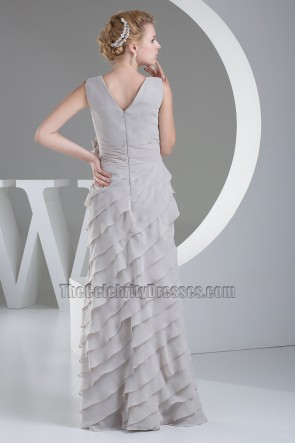 Sliver V-neck Ruffles Prom Gown Evening Formal Dresses