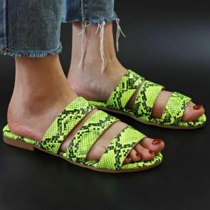 Snakekin Print Open-toe Flat Slides