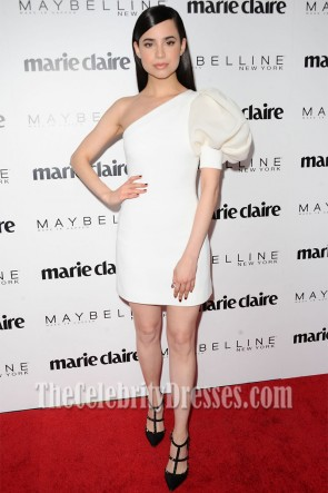 Sofia Carson White One-Shoulder Knee- Length Cocktail Dress Marie Claire's 'Fresh Faces' Celebration