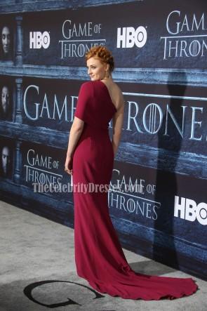 Sophie Turner pflaumenfarben Ein Schulter Abend Abendkleid 'Spiel der Throne' Staffel 6 Premiere