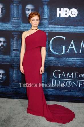 Sophie Turner Plum-colored One Shoulder Evening Prom Gown 'Game of Thrones' Season 6 Premiere 5