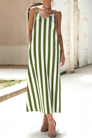 Spaghetti Straps Striped Dress
