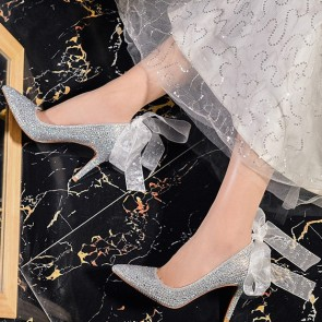 Sparkly  Pointed Toe Pumps Wedding Shoes With Ribbon