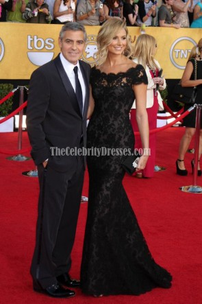 Stacy Keibler Black Lace Prom Gown Formal Dress 2012 SAG Awards Red Carpet