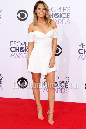 Stephanie Bauer White Off-the-Shoulder Mini Dress 2015 People's Choice Awards