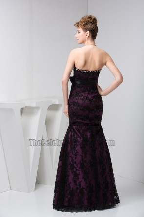 Floor Length Strapless Lace Prom Gown Evening Formal Dresses