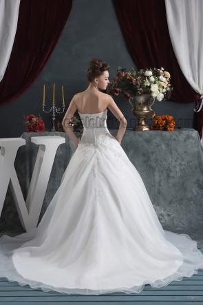 Trägerloses Schatz A-Linie besticktes Kapellenzug-Hochzeitskleid