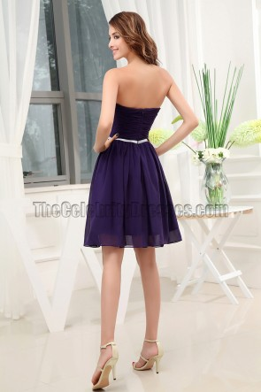 Strapless Sweetheart Chiffon Cocktail Bridesmaid Dresses