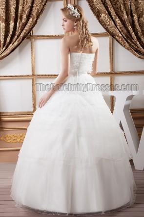 Atemberaubende bodenlange trägerlose Organza Ballkleid Brautkleid