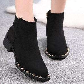 Suede Low Heel Ankle Boots Decor With Beadings
