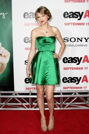 Taylor Swift trägerlosen Green Mini Party Heimkehr Kleid Red Carpet Kleider Celebrity Style