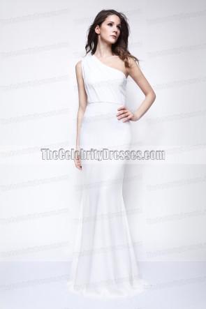 Kate Beckinsale weißes Schulter-Abschlussball-Kleid-Abend-Kleid