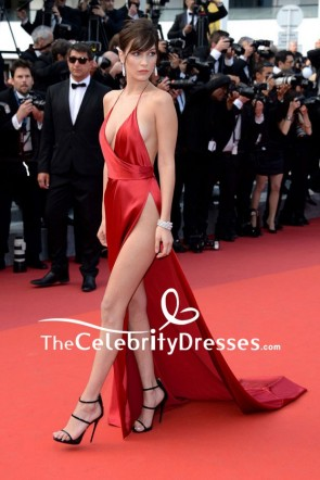 Bella Hadid Red Sexy Evening Dress High Slit Cannes 2016 Red Carpet Gown