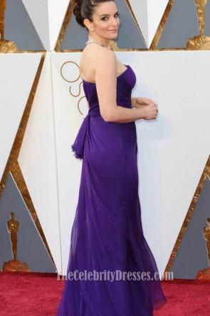Tina Fey Oscars 2016 Roter Teppich trägerloser Mode-purpurroter Abend-Abschlussball-Kleid-formales Kleid