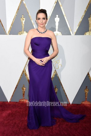 Tina Fey Oscars 2016 Red Carpet Strapless Fashion Purple Evening Prom Gown Backless Formal Dress  1
