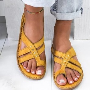 Toe Ring Cross Strap Flat Sliders