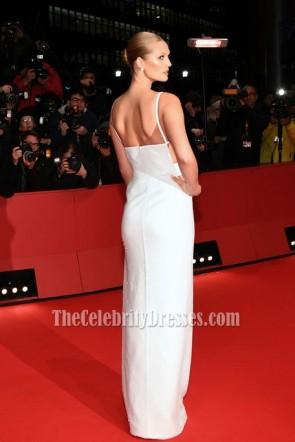 Toni Garrn White Sequin Column Thigh-high Slit Evening Dress erlinale International Film Festival Berlin 2018 TCD7750