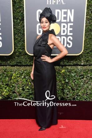 Tracee Ellis Ross Schwarzes Halfter rückenfreies Abendkleid 2018 Golden Globes roter Teppich