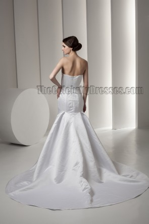 Trumpet /Mermaid Strapless Beaded Chapel Train Wedding Dresses