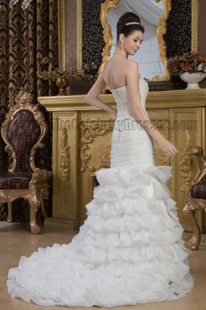 Trumpet/Mermaid Strapless Beaded Sweep Brush Train Wedding Dress