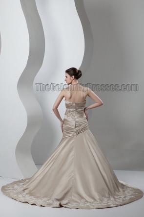 Trumpet/Mermaid Strapless Champagne Formal Wedding Dresses