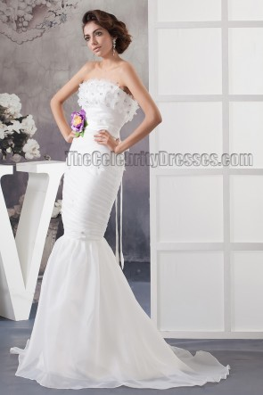 Trumpet /Mermaid Strapless Sweep /Brush Train Wedding Dress