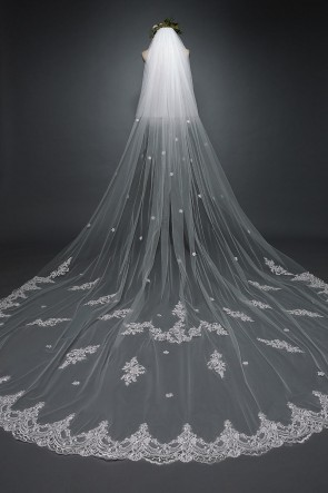 Two-tier Applique Chapel Bridal Veils