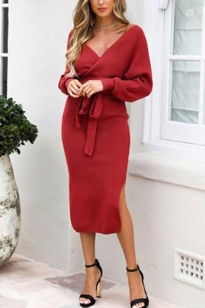 V-neck Lace-up Slit Knit Dress